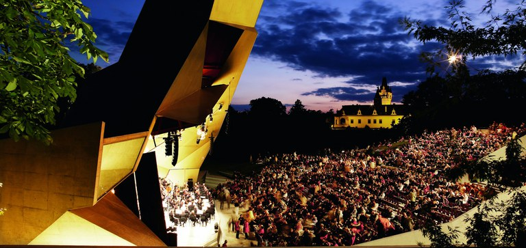 The award-winning open air stage is characterized by its imaginative design of concrete, steel and glass.